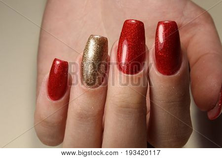 Manicure Nails Extensively Bright Red