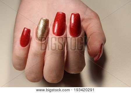 Manicure Nails Red And Gold
