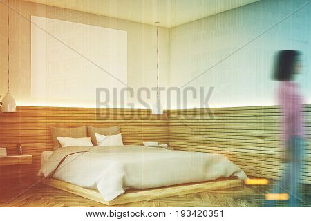 Wooden Bathroom With A Poster, Corner, Woman