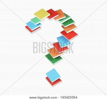 Red blue yellow orange book forming a large question mark. Concept of education reading and finding answers. 3d rendering