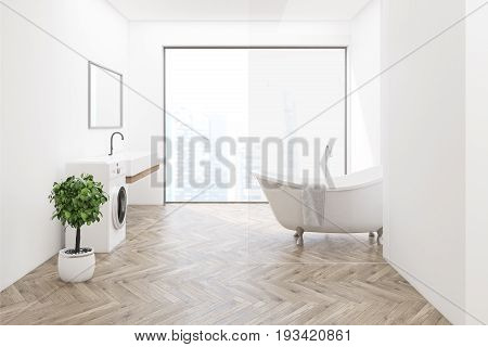 Side veiw of a white bathroom interior with a washing machine wooden floor a tree in a pot a sink and a tub. Panoramic window. 3d rendering mock up