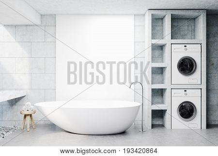 Modern bathroom interior with concrete walls and floor a sink a white tub and two washing machines. A chair with rolled towels. 3d rendering mock up