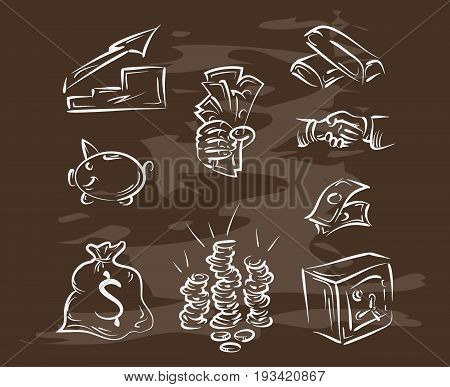 Collection of hand-drawn finance on blackboard. Retro vintage style .vector eps10