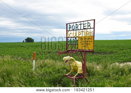 MONTROSE, SOUTH DAKOTA - JUNE 22, 2017: Sign at Porter Sculpture Park. There are over 50 sculptures on the 10 acre lot on the South Dakota Drift Prairie just off of Interstate 90.