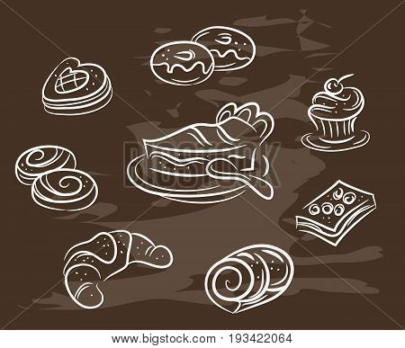 Vintage collection of desserts. Sketches of desserts hand-drawn with chalks on blackboard. Vector illustration.