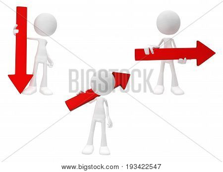 White symbolic figures standing with red arrow symbols 3d illustration horizontal isolated