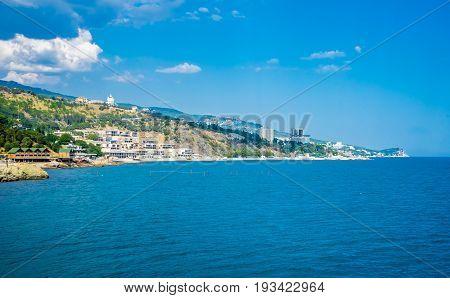 Coast of the Southern coast of Crimea. Black Sea Coast near Alupka