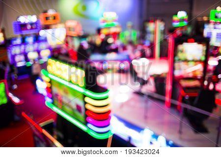 Casino Room Jackpot Slot Machines Defocused