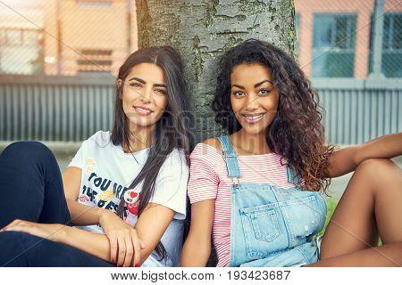 Grinning Beautiful Young Women