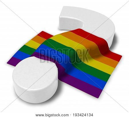 question mark and rainbow flag - 3d illustration