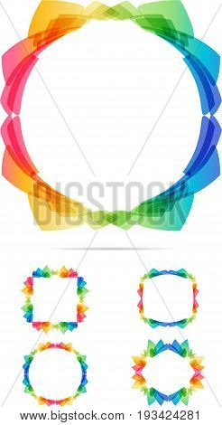 Abstract multicolored frames set on white background