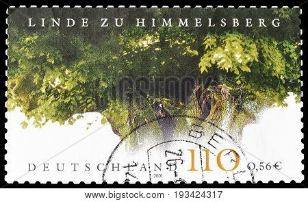 GERMANY - CIRCA 2001 : Cancelled postage stamp printed by Germany, that shows Lime tree at Himmelsberg.