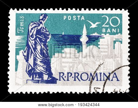 ROMANIA - CIRCA 1960 : Cancelled postage stamp printed by Romania, that shows Black sea resort Tomis.