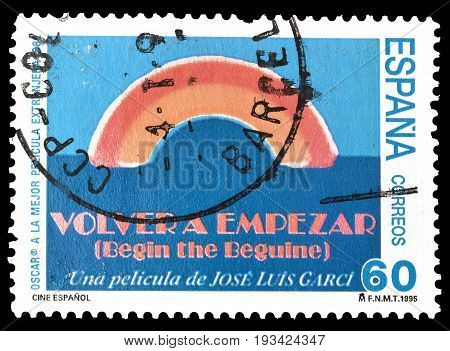 SPAIN - CIRCA 1995 : Cancelled postage stamp printed by Spain, that shows Spanish Cinema Volver a empezar.