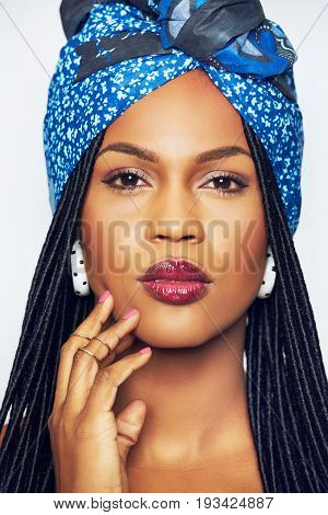 Sensual Black Woman In Ethnic Clothes Touching Face