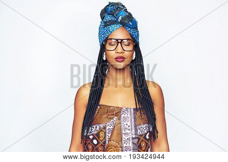 Attractive Ethnic Dressed Black Woman With Eyes Closed