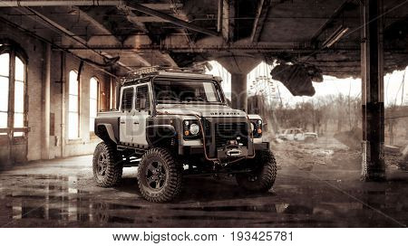 Chernobyl, Ukraine August 31, 2012: Land Rover Defender tuned for zombie apocalypse in a destroyed building on August 31, 2012 in