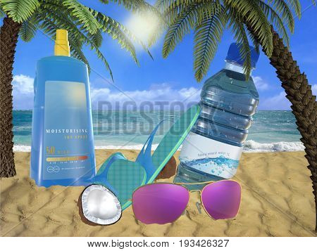 Suncream spray with protected sunglasses and bottle water on the beach