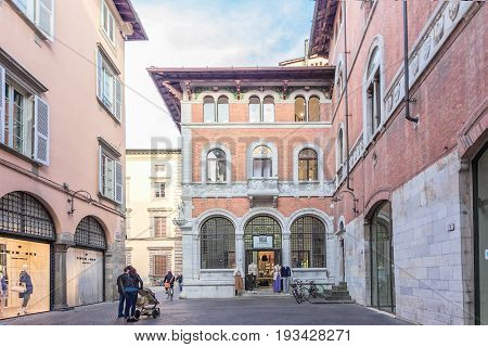 Lucca Italy - April 07 2017: Streets of Lucca with shops