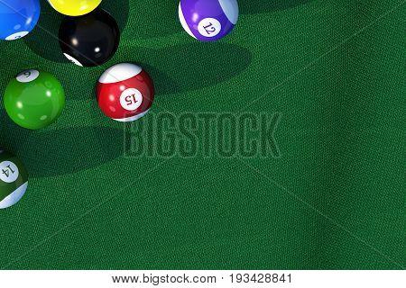 Billiard Game Copy Space 3D Rendered Background Illustration.