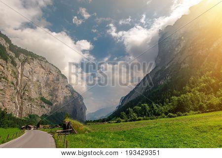 Lauterbrunnen Valley Jungfrau Region. Stechelberg is a small Village Bernese Oberland in Switzerland.