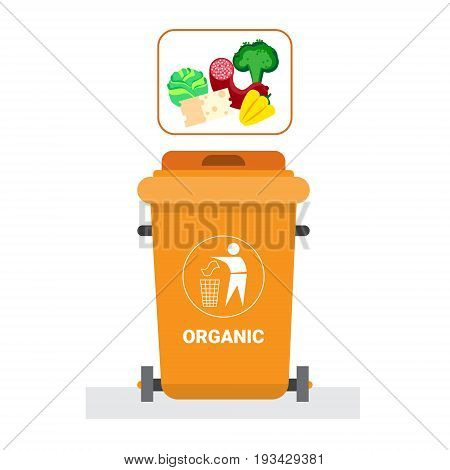 Rubbish Container For Organic Waste Icon Recycle Sorting Garbage Concept Logo Vector Illustration
