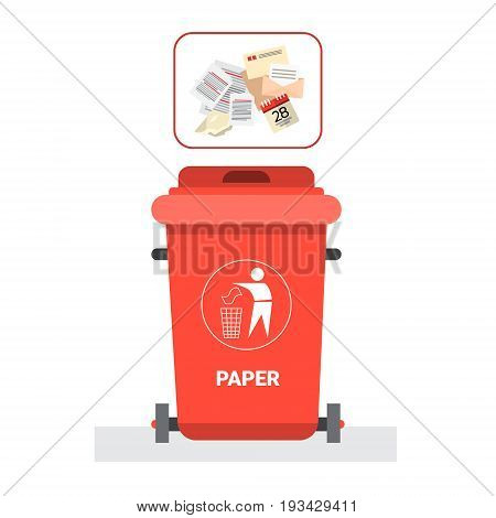 Rubbish Container For Paper Waste Icon Recycle Sorting Garbage Concept Logo Vector Illustration