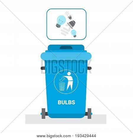 Rubbish Container For Light Bulbs Waste Icon Recycle Sorting Garbage Concept Logo Vector Illustration
