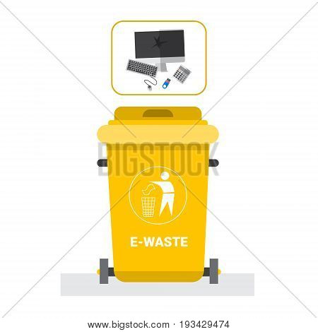 Rubbish Container For E-waste Icon Recycle Sorting Garbage Concept Logo Vector Illustration