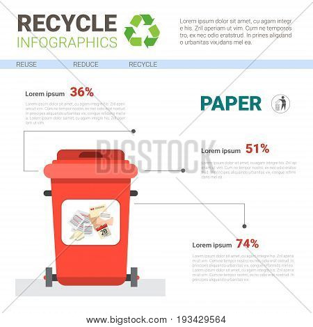 Rubbish Container For Paper Waste Infographic Banner Recycle Sorting Garbage Concept Vector Illustration