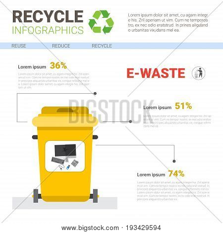 Rubbish Container For E-waste Infographic Banner Recycle Sorting Garbage Concept Vector Illustration