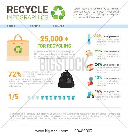 Recycle Infographic Banner Waste Gathering Sorting Garbage Concept Vector Illustration