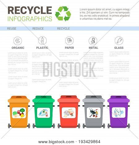 Rubbish Container For Sorting Waste Infographic Banner Recycle Garbage Concept Vector Illustration