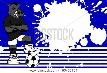 strong sporty wild pig soccer player cartoon background in vector format