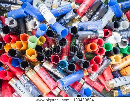 Verona Italy - June 4 2017: Empty cartridges collected in a skeet shooting range after a shooting day.