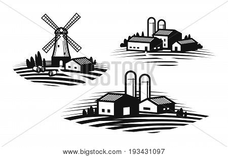 Farm, farming label set. Farmhouse, windmill, agribusiness, agricultural industry icon or logo. Vector illustration isolated on white background
