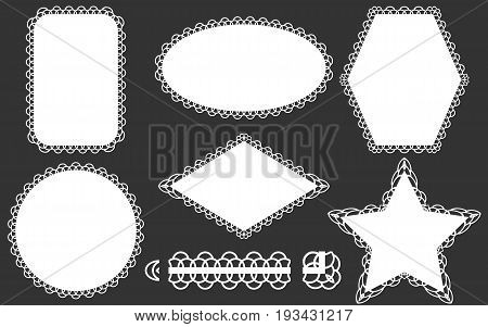 Set of lace frames doily and ribbon brush. White elements isolated on a gray background. Vector illustration.
