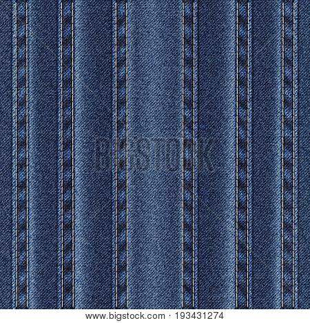 Texture vertical seams on denim. Vector illustration.