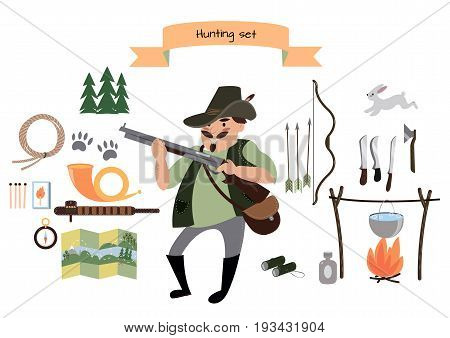 Hunting icon set, hunter character, vector illustrations