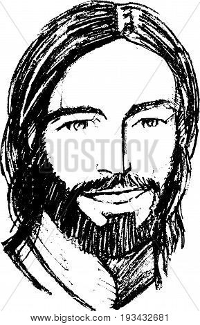Hand drawn vector illustration or drawing of Jesus Christ smiling face