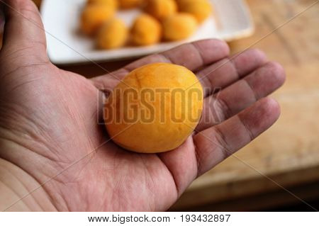 Fresh apricot in a human hand. In the background a plate with apricots.
