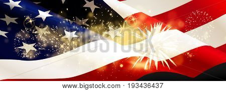 fireworks over United States flag - background for 4th of July Independence Day