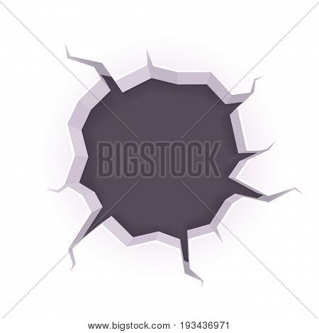 Cartoon style hole in the wall with cracks. Broken surface with copy space for banner or web design. Vector illustration isolated on white background.