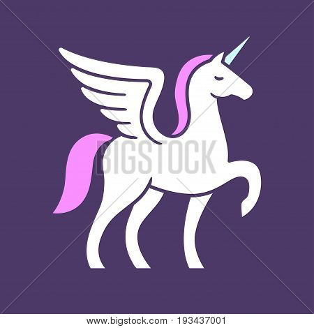 Winged unicorn logo vector illustration. Stylized mythical creature silhouette.