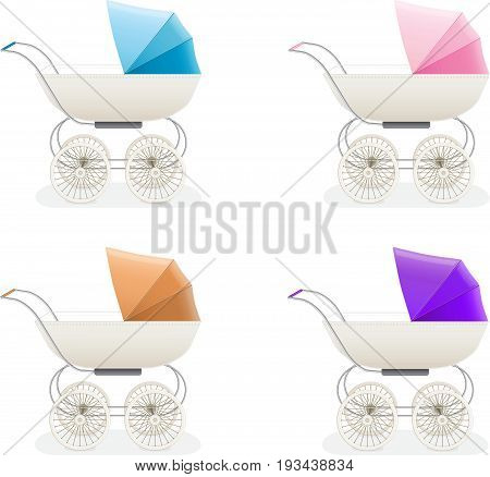 set child prams, baby carriages or strollers isolated on white background