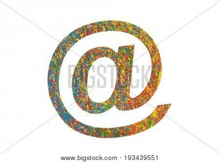 Colorful painted email symbol isolated on white with clipping path