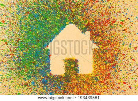 House shape over background with colorful splashes
