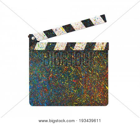 Colorful painted film clapperboard isolated on white