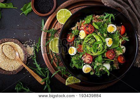 Diet Menu. Healthy Salad Of Fresh Vegetables - Tomatoes, Avocado, Arugula, Egg, Spinach And Quinoa O