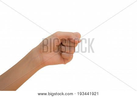 Hand clenched hand of woman isolated on white background with clipping path.